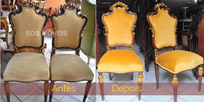 Cadeiras - antes com tecido velho, madeira com verniz velho - depois de restaurada a parte de madeira e detalhes em dourado, o trabalho de dourado feito em folha de ouro e envelhecido , tapeçaria com veludo dourado.