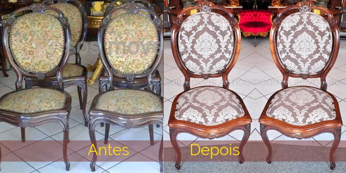 Cadeiras - antes com tecido velho e madeira com verniz antigo - depois de removido verniz antigo e lustrado natural, apareceu bem mais a madeira imbuia , tapeçaria nova.
