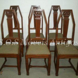6 Cadeiras Art-Nouveau L:0,42 P:0,43 A:1,10 RM