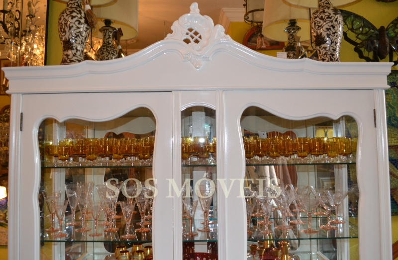 decoracao laca branca : decoracao laca branca:Cristaleira Provençal Laca Branca Cód.04 – S.O.S Móveis Antigos