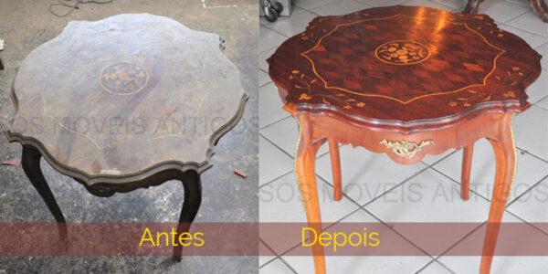 Mesa - ANTES com verniz velho, que nem aparecia a marchetaria - DEPOIS de remover verniz velho e lustrar natural apareceu a marchetaria.